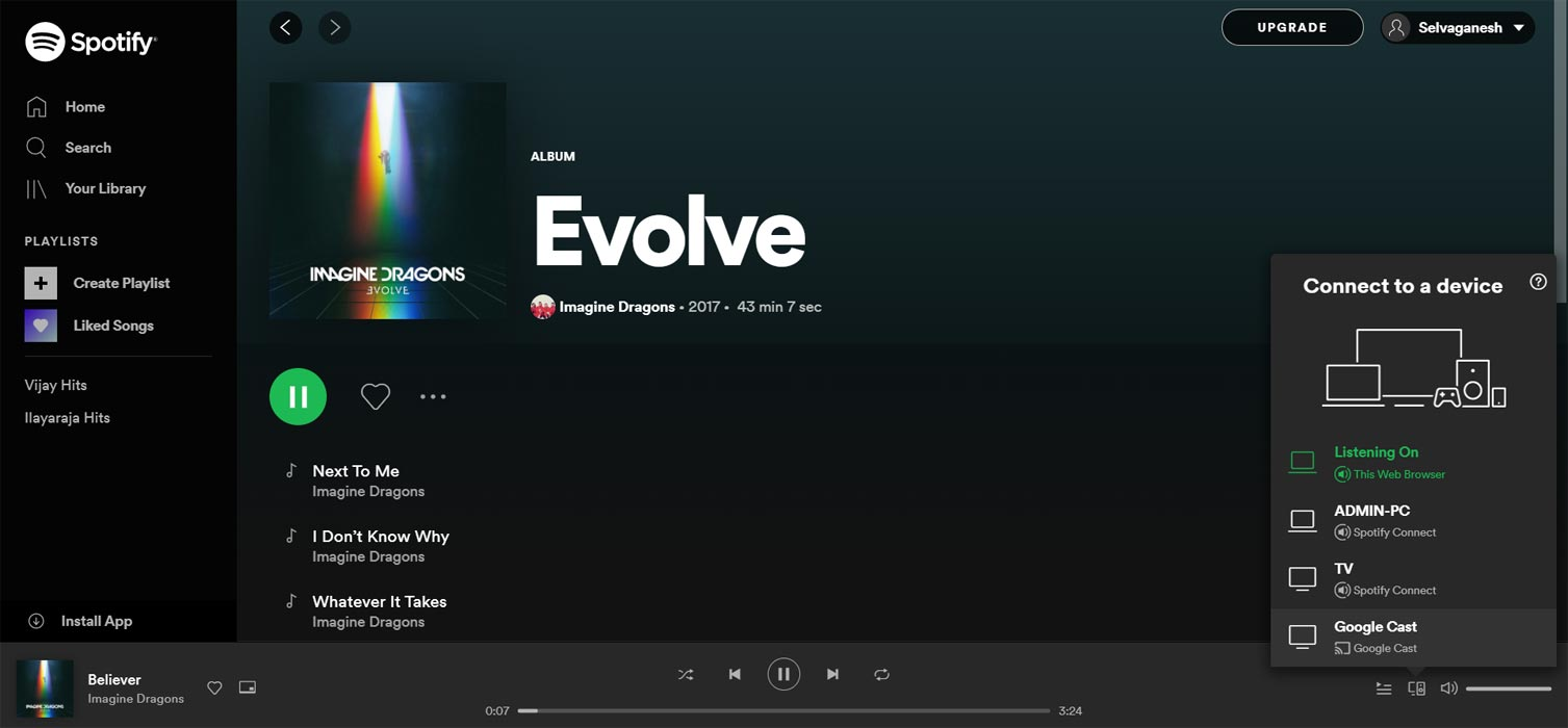 Chromecast on Spotify Web Player