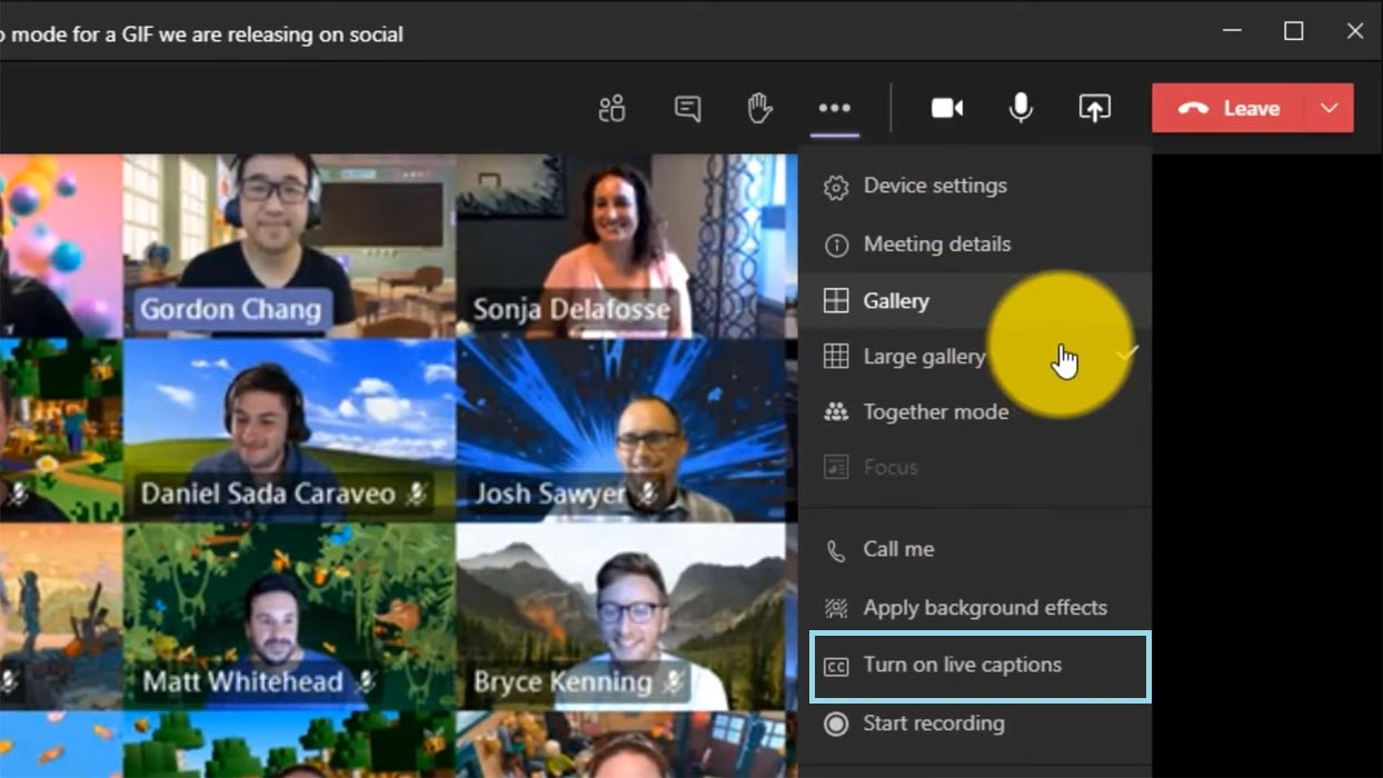Enable Live Captions Microsoft Teams
