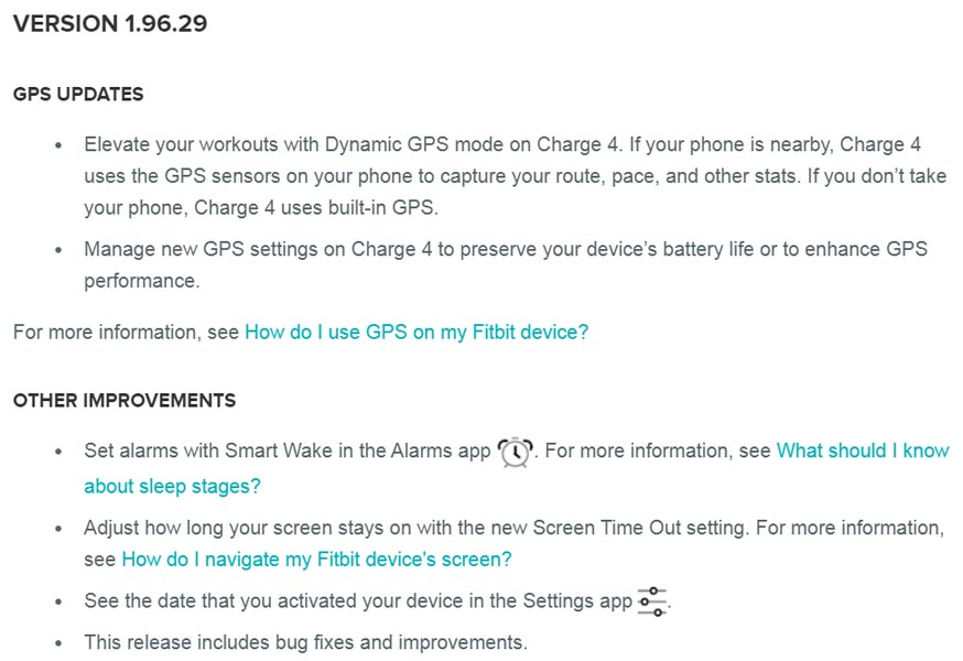 Fitbit Version 1.96.29 update Smart Wake and Dynamic GPS