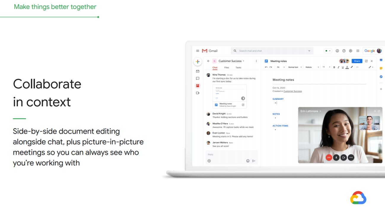 Google Docs and Meet in Gmail