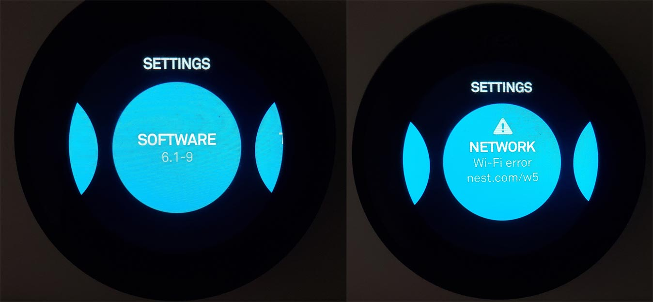 Google Nest Thermostat w5 Wi-Fi Error