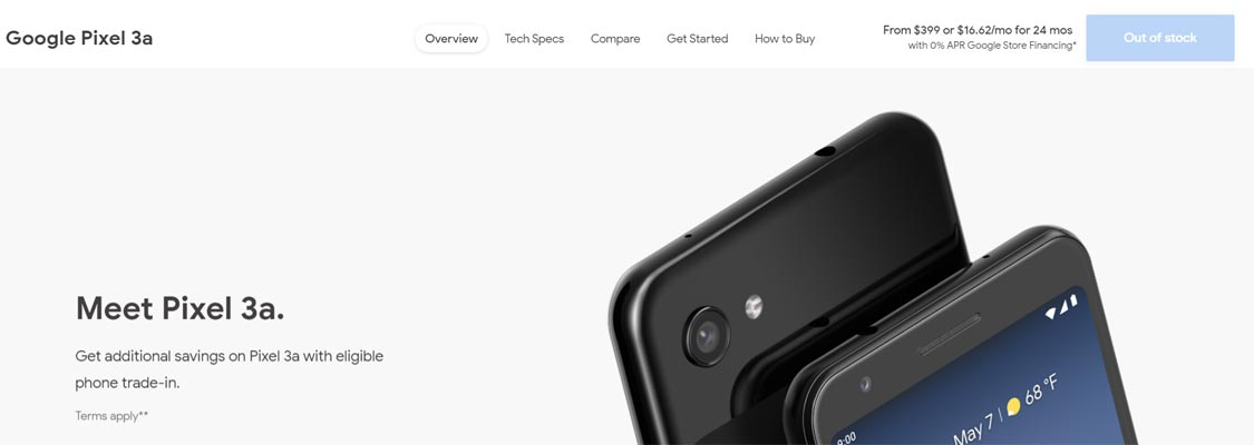 Google Pixel 3a discontinue and out of stock in Google Online store