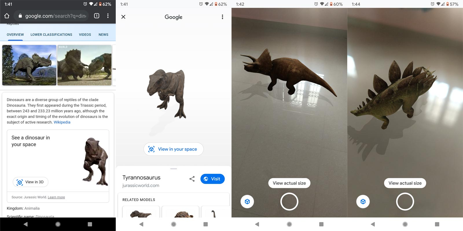 Jurassic World Dinosaurs Google search AR 3D How to use