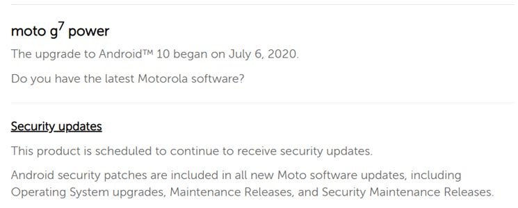 Moto G7 Power Android 10 Firmware Official Confirmation