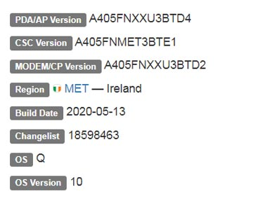 Samsung Galaxy A40 Android 10 Firmware details