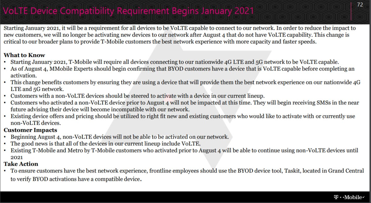 T-Mobile requires VoLTE to make Voice calls Official Statement