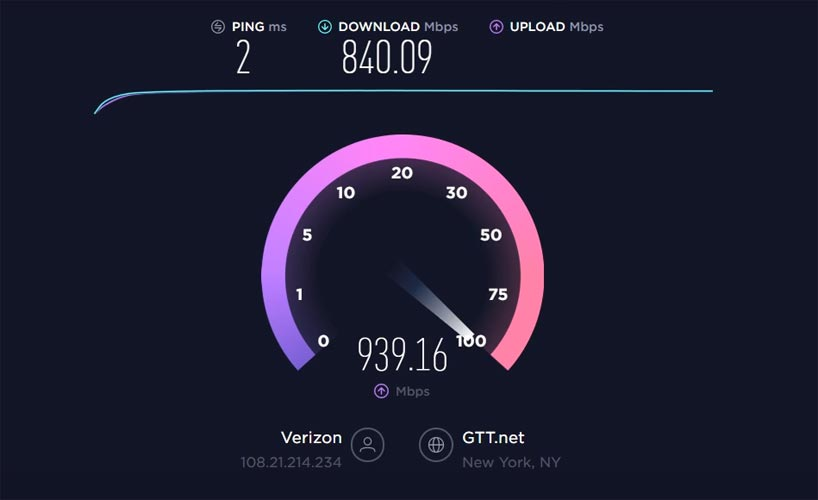 Verizon FiOS Gigabit Plan Speed Test Result