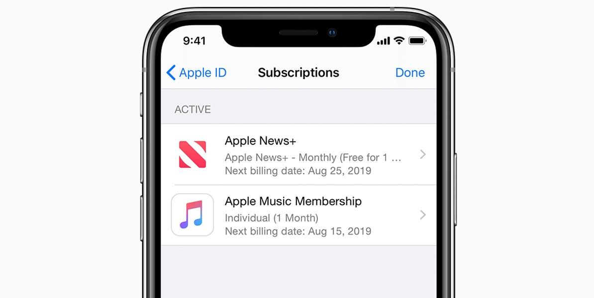 Applem Subscriptions Page in iPhone