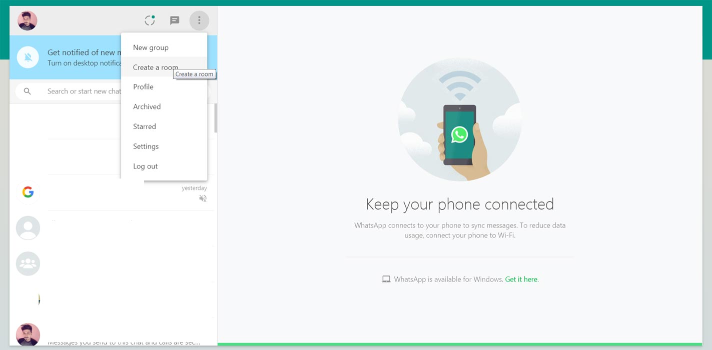 Create Facebook Messenger Rooms from WhatsApp Web Option