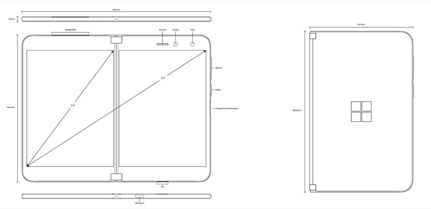 Design and Dimension values Microsoft Surface Duo