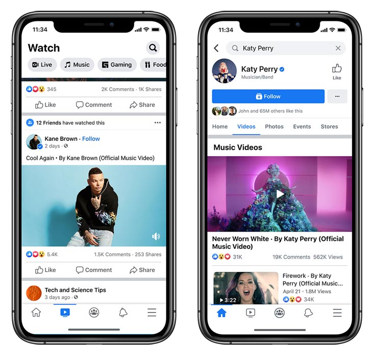 Facebook Official Music Videos view methods