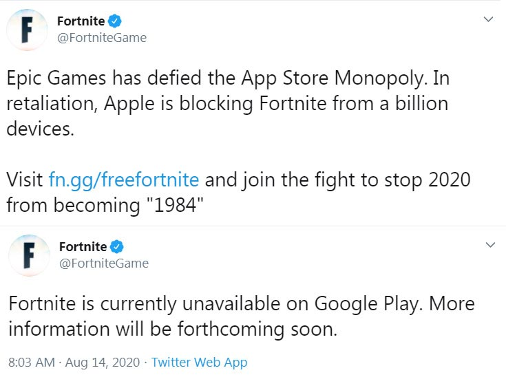 Fortnite Removed from Google and Apple App Store Official Tweet