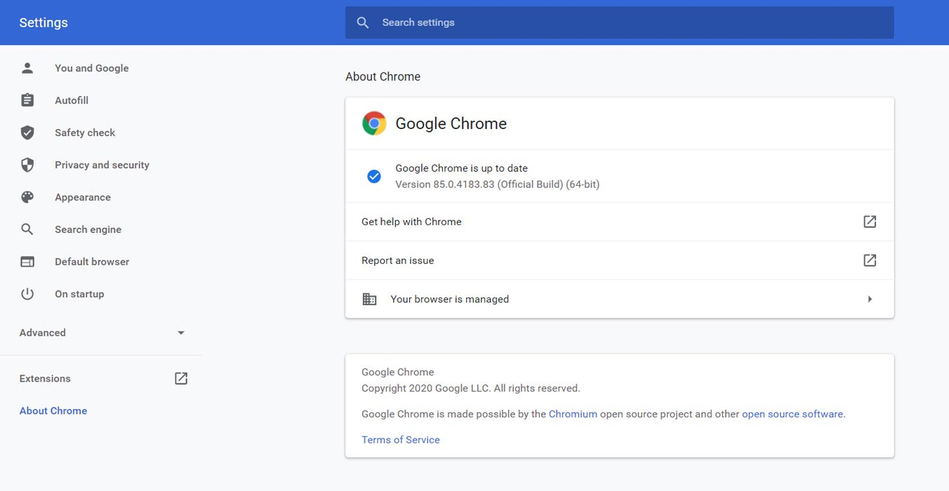 Google Chrome 85 Update version