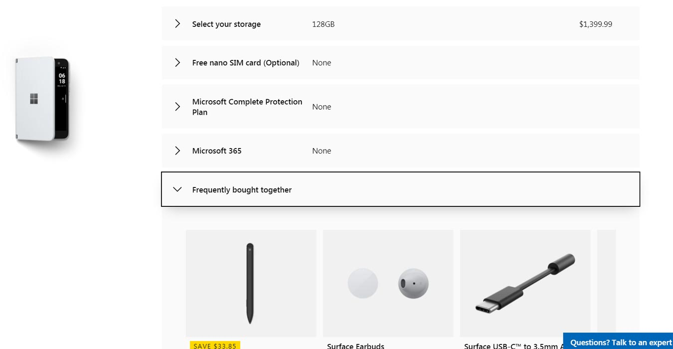 Microsoft Surface Duo Unlocked Pre-Order in Microsoft Store