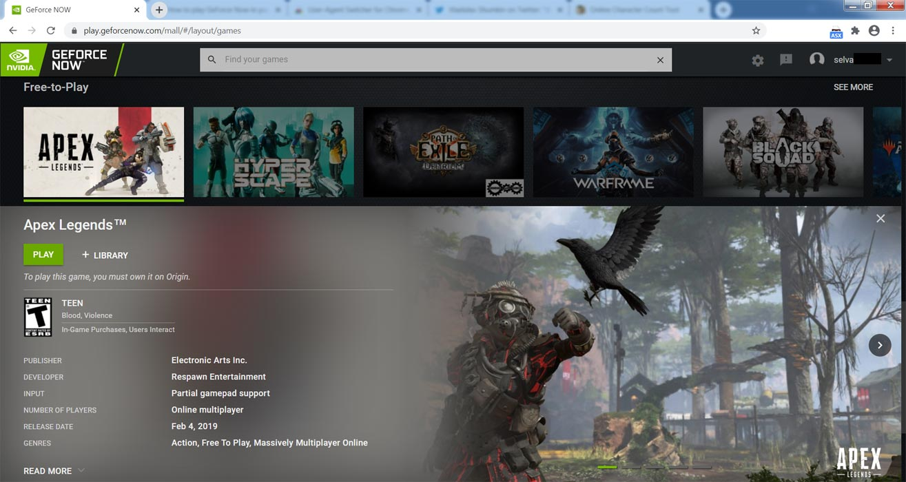 Playing Apex Legend GeForce Now game in Browser