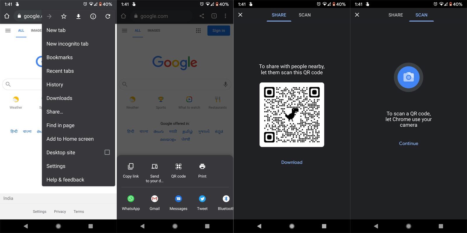 QR Code Scan and Generate in Chrome Android