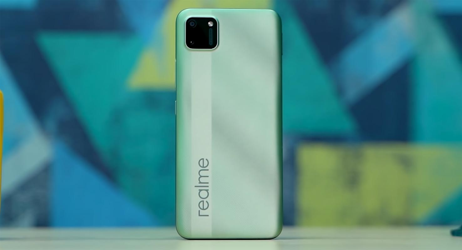 Realme C11 Back side on the Table