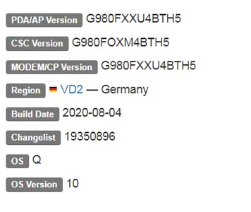 Samsung Galaxy S20 Android 10 Firmware Details