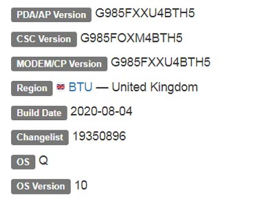 Samsung Galaxy S20 Plus Exynos Android 10 Firmware Details