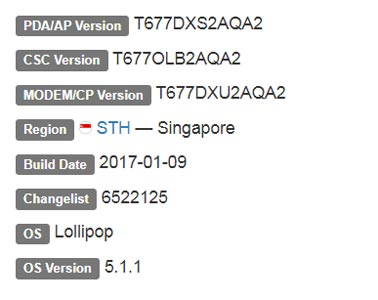 Samsung Galaxy View Lollipop Firmware Details