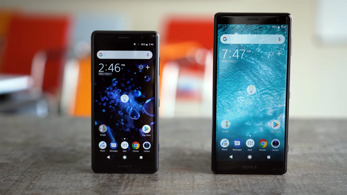 Sony Xperia XZ2 and XZ2 Compact on the Table
