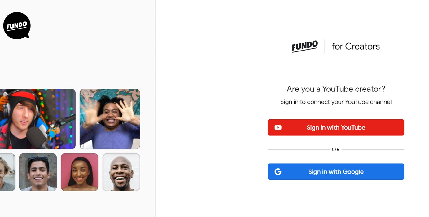 Fundo Creator Sign Up Page