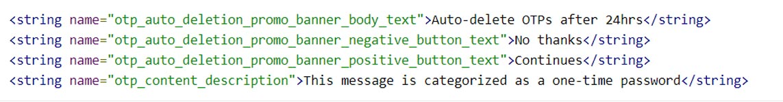 Google Messages OTP Auto Deletion feature Code