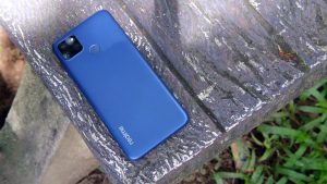 Realme C12 Back side on the wooden table