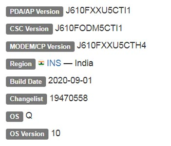 Samsung Galaxy J6 Plus Android 10 Firmware Details