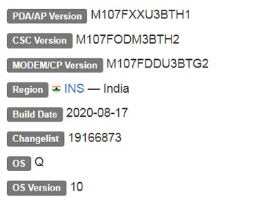Samsung Galaxy M10s Android 10 Firmware Details