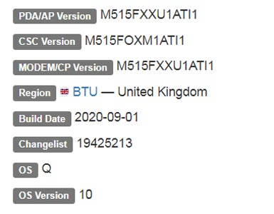 Samsung Galaxy M51 Android 10 Firmware Details
