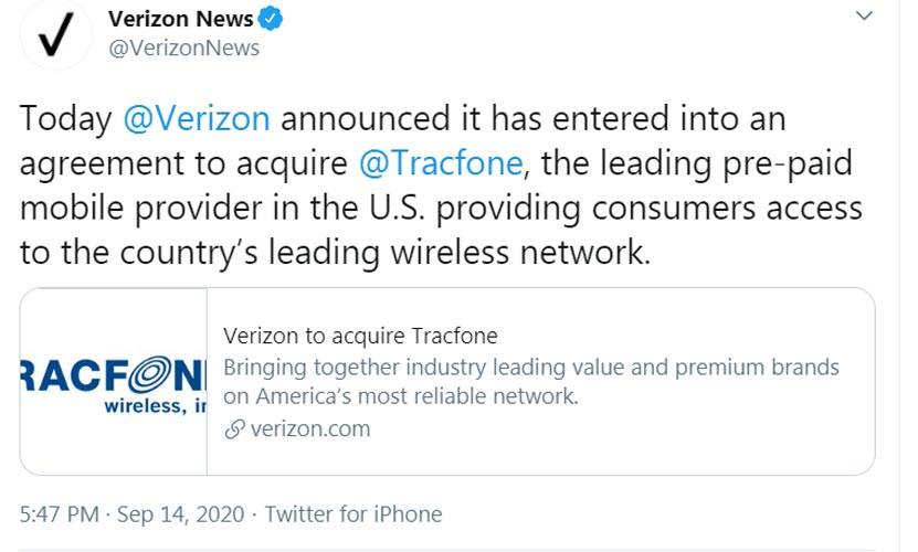 Verizon Tracfone Merger Confirmation official tweet