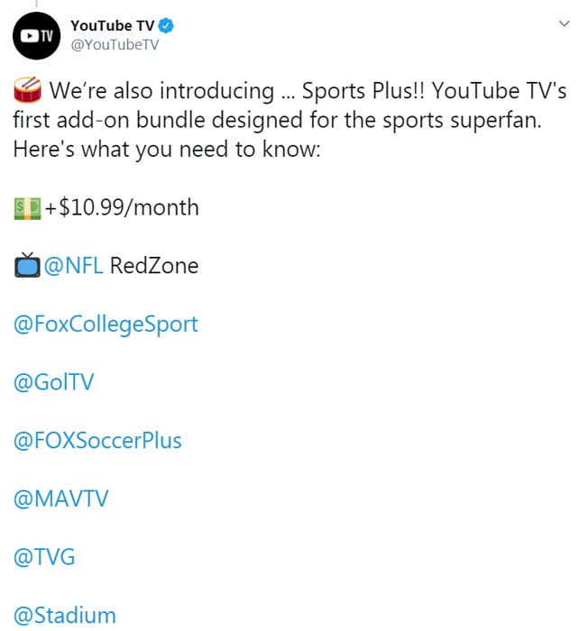 YouTube TV Sports Add-on Official Twitter