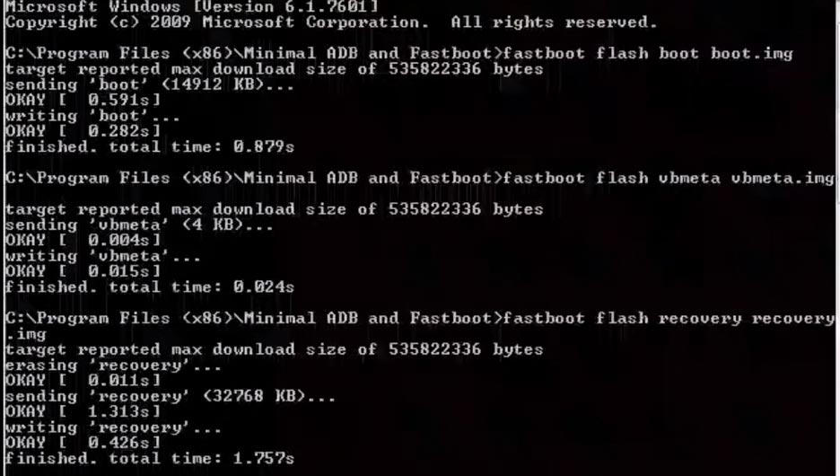 fastboot flash boot vbmeta recovery.img