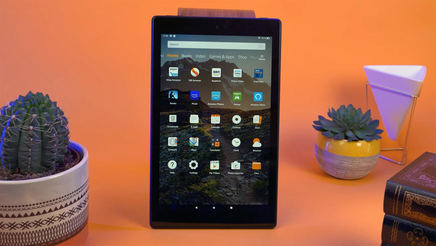 Amazon Fire HD Tablet on the table