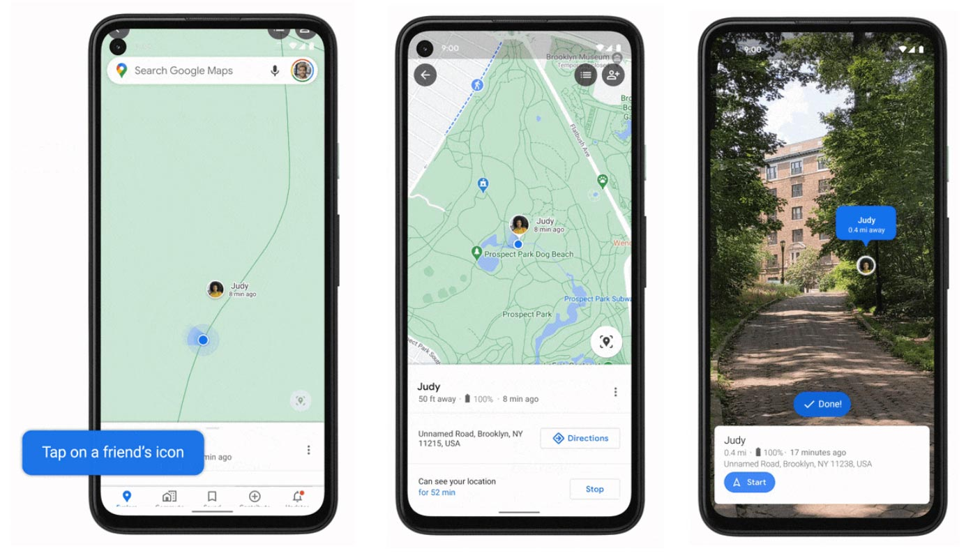 Google Maps Live View Location Sharing