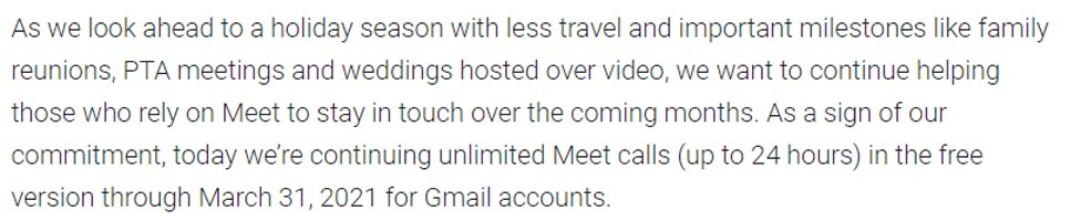 Google Meet Unlimited Calls Upto 2021 Offical News