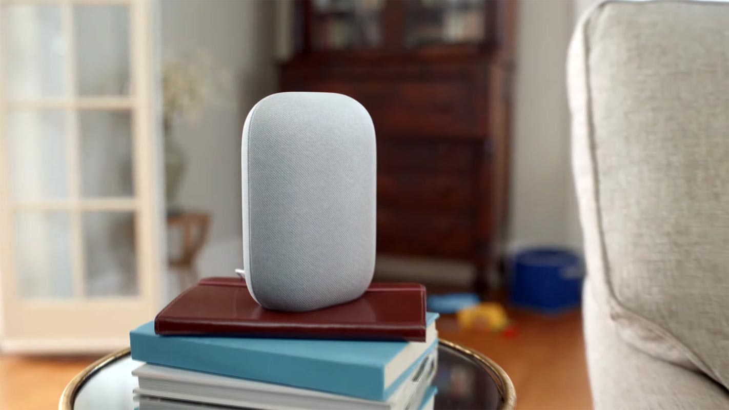 Google Nest Speaker on the Books Table