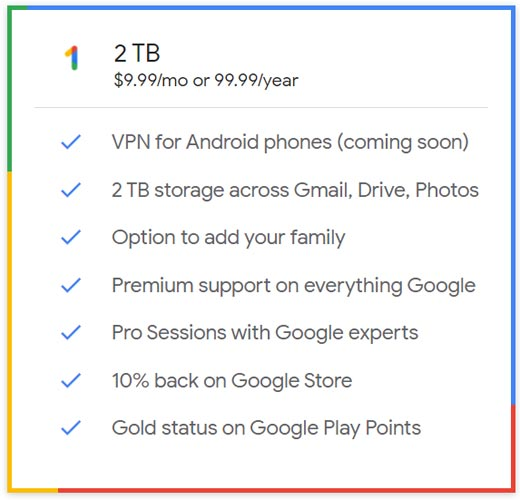 Google One 2 TB Plan Features