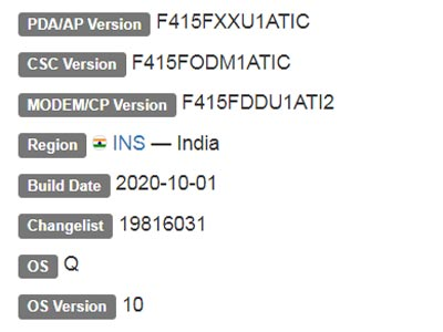 Samsung Galaxy F41 Android 10 Firmware Details