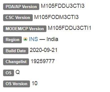 Samsung Galaxy M10 Android 10 Firmware Details