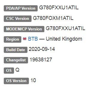 Samsung Galaxy S20 FE Fan Edition Android 10 Firmware Details