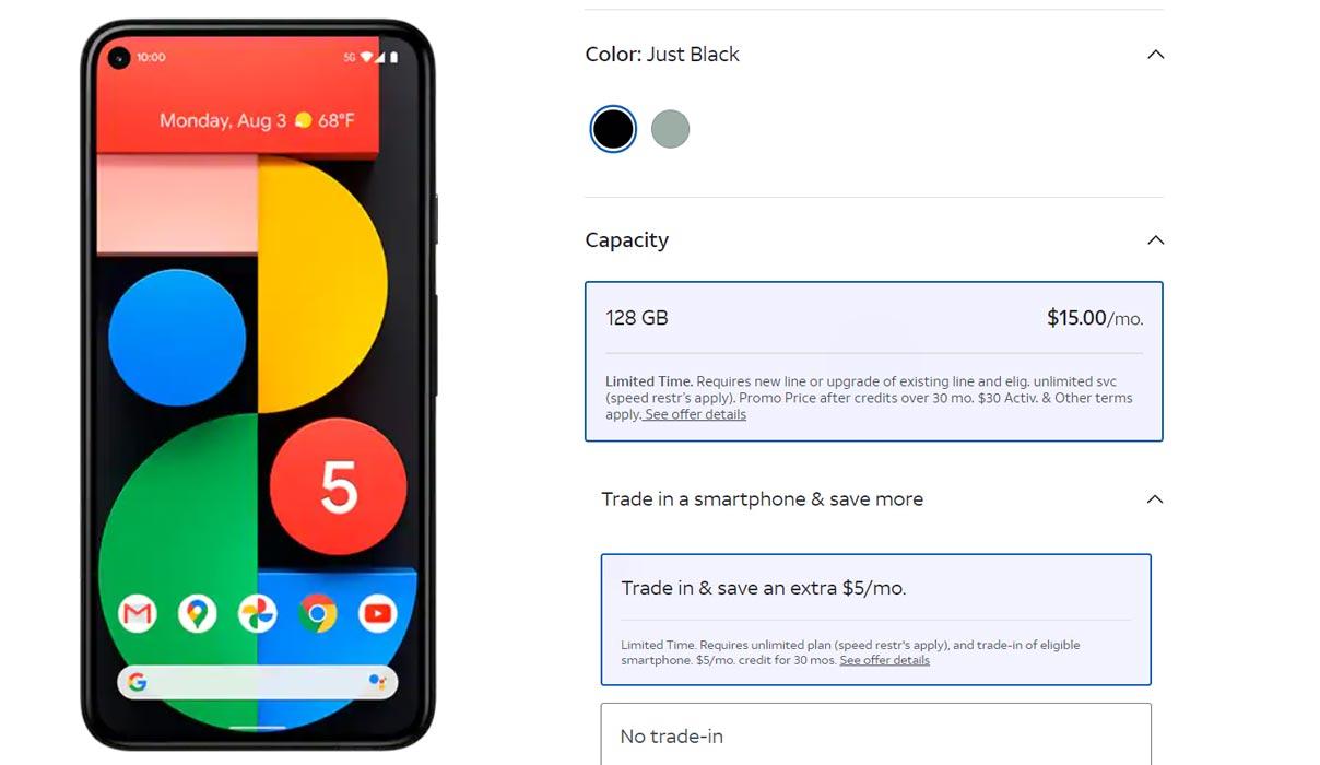 AT&T Google Pixel 5 available for $10/month with eligible trade-in