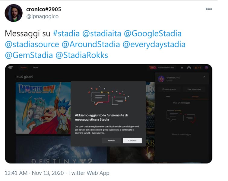 Google Stadia Chat Screenshot tweet