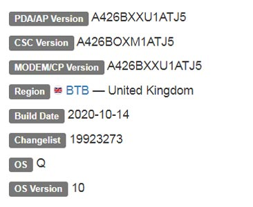 Samsung Galaxy A42 5G Android 10 Firmware Details