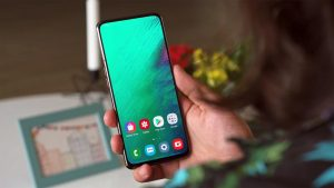 Samsung Galaxy A80 Home Screen in the hand