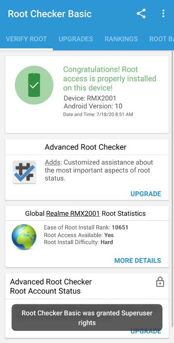 Realme 6 Android 10 Root Checker Result