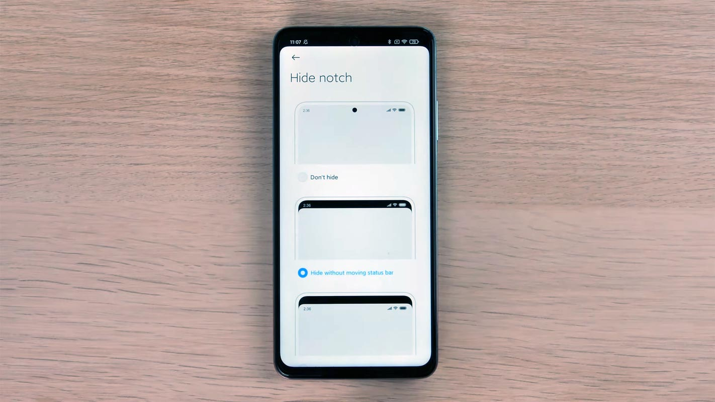 Redmi Note 9 Pro 5G Hide Notch Option