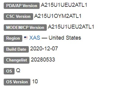 Samsung Galaxy A21 Android 10 Firmware Details