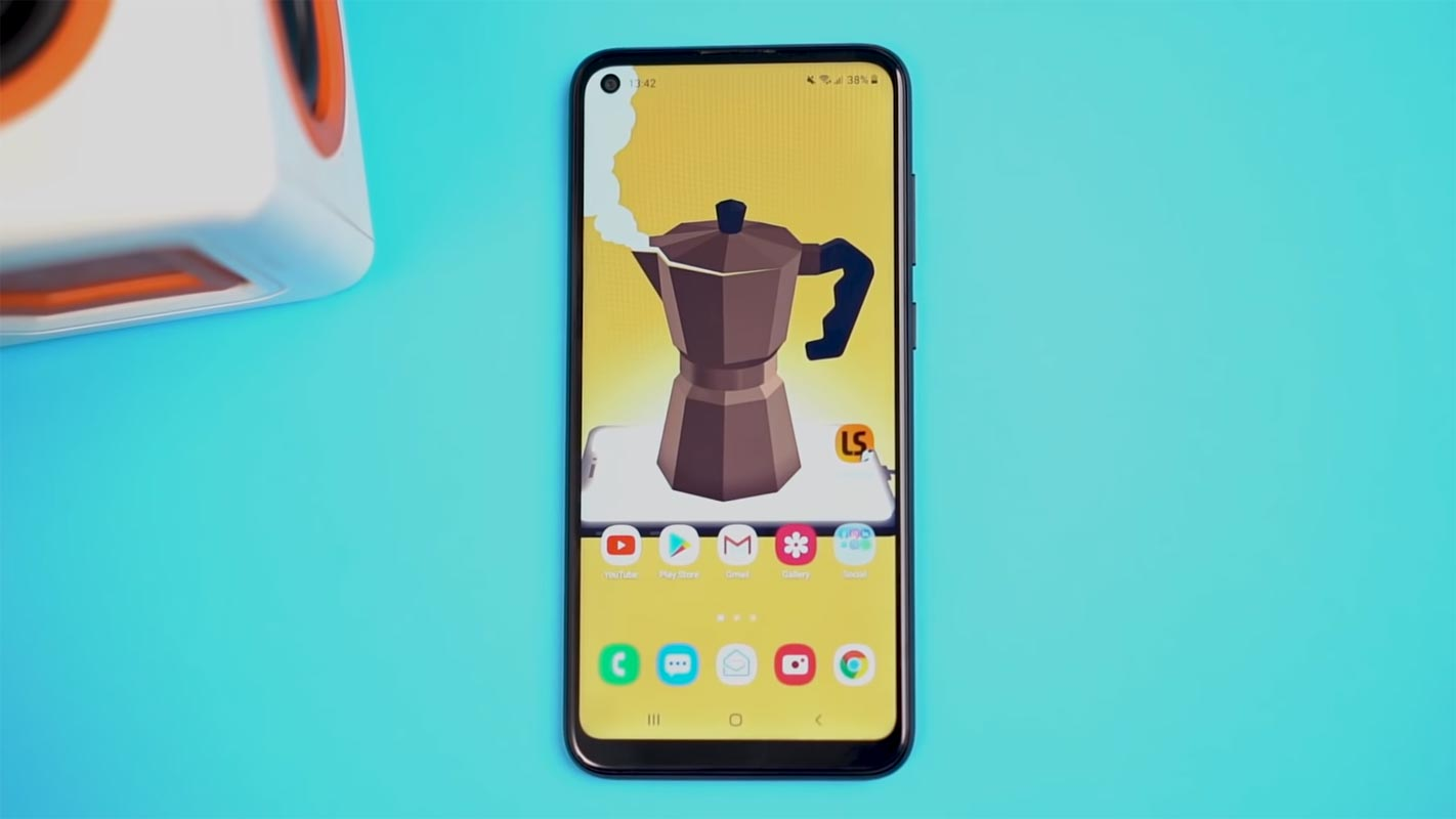Samsung Galaxy M11 Home Screen with Cyan Background